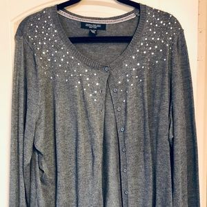 Central Park West gray sequined cardigan